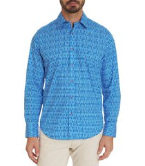 robert graham men's classic-fit printed shirt - blue - size s