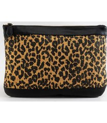 carissa mixed media canvas pouch - leopard