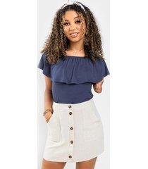molly linen mini skirt - natural