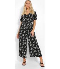 bloemenprint jumpsuit met pofmouwen en knopen, black