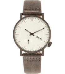 simplify quartz the 3600 silver case, genuine grey leather watch 40mm