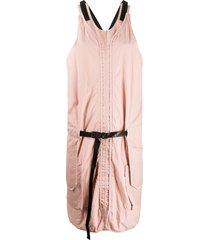 aries crinkled effect cross back dress - pink