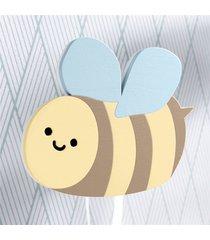 cabideiro de parede abelhinha mdf grão de gente amarelo