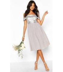 bridesmaid occasion sequin bardot midi dress, silver