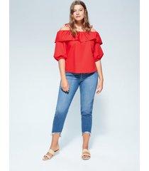 off-shoulder blouse met ruches