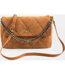 charlotte quilted curb chain satchel - cognac