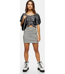 petite check button mini skirt - multi