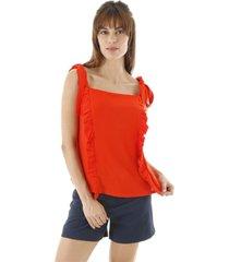 blusa aha regata com alã§a amarraã§ã£o e babados frontal vermelha  verde - laranja - feminino - dafiti