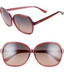 women's maui jim taro 59mm polarizedplus2 round sunglasses - pink w/ lilac/ maui rose