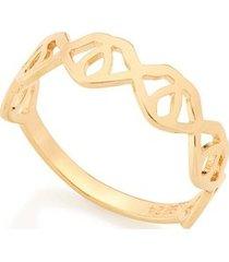 anel com detalhes geométricos vazados rommanel