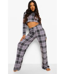 petite geruite pyjama set met crop top en broek, grey