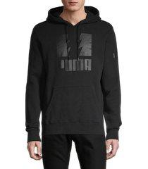 men's puma x the hundreds logo stretch-cotton hoodie - black - size m