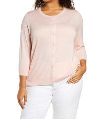 plus size women's halogen button front cardigan, size 1x - pink