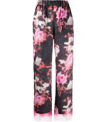 msgm fringe trim floral trousers - black