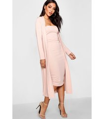 bandeau dress & duster co-ord set, blush