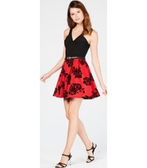 crystal doll juniors' velvet-print fit & flare dress