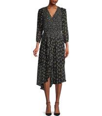 bailey 44 women's botanical-print ruffled dress - black multi - size 0