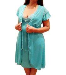 conjunto linda gestante camisola amamentação com robe maternidade em liganete feminina - feminino