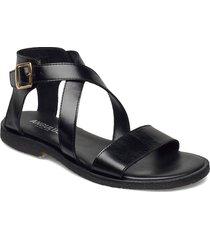 sandals - flat - open toe - op shoes summer shoes flat sandals svart angulus