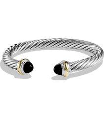 david yurman cable classics bracelet with semiprecious stones & 14k gold, 7mm, size medium in cabachon black onyx at nordstrom