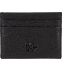 black calf crossed leather cardholder