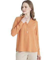 blusa botones naranjo lorenzo di pontti