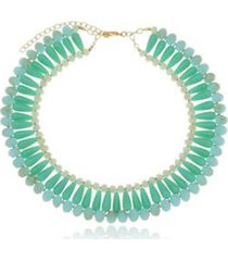 colar le diamond cristais com resina turquesa - feminino