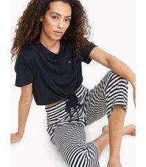 tommy hilfiger women's navy tie-hem pajama set navy blazer - s