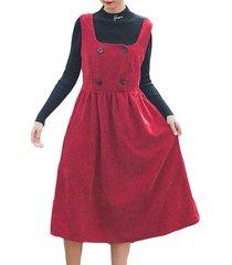 abito senza maniche con bottoni in velluto a coste a mezza altezza in velluto a coste vintage donna