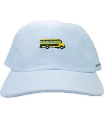 boné flip skateboards dad hat aba curva london bus branco
