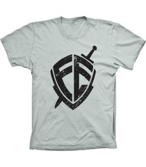 camiseta baby look lu geek escudo da fã© prata - prata - feminino - dafiti