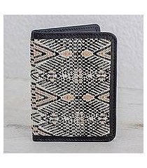 leather accent cotton passport wallet, 'tricolor beauty' (guatemala)