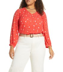 plus size women's halogen floral v-neck blouse, size 1x - red
