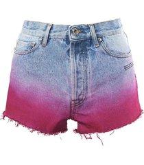 degrade denim shorts
