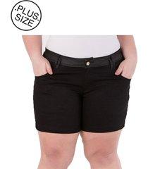 shorts plus size - confidencial extra com aplique preto