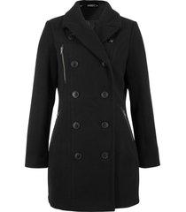 giacca lunga in simil lana stile trench (nero) - bpc bonprix collection