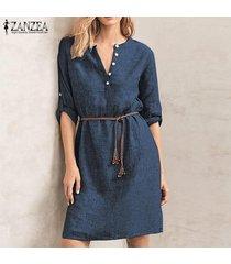 zanzea mujer de manga larga camisa de botones de cuello en v vestido sólido señoras de la oficina mini vestido plus -azul marino
