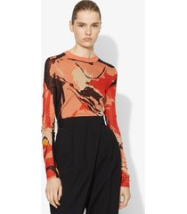 proenza schouler marocaine silk jacquard knit top light tangerine/red abstract painted/orange l