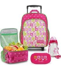conjunto jacki design mochila com rodinhas & térmica completo feminino