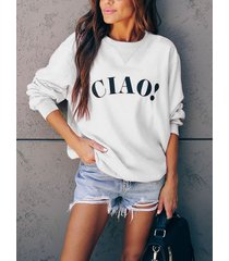 white letter print round neck long sleeves sweatshirt