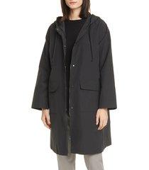 women's eileen fisher hooded organic cotton blend coat