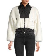 lea & viola women's faux fur teddy bomber - white black - size s