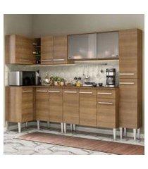 cozinha completa de canto madesa emilly space com armário vidro, balcão e paneleiro rustic rustic