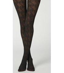calzedonia glitter viscose opaque tights woman black size 1/2