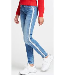 jeansy z ozdobnymi pasami fason skinny