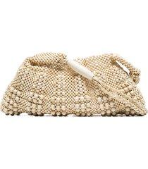 aranaz beaded shoulder bag - neutrals