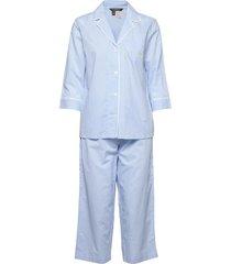 lrl 3/4 sl. notch collar capri pj set pyjama blauw lauren ralph lauren homewear