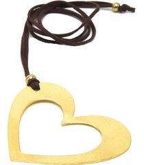 collar de mujer dorado silhouette cuore satinato brass colection by vestopazzo