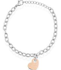 bracciale in acciaio bicolore e strass con charm a forma di cuore per donna