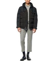 marc new york men's hopkins mixed-media down hooded trucker jacket